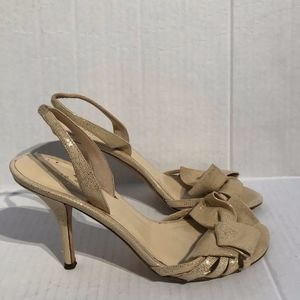 Kate Spade Lourdes Strappy Gold Bow Heels Sandals
